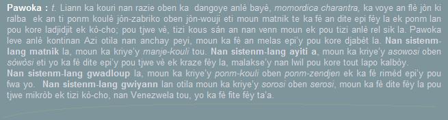 Pawoka  liann  momordica charantra  manje-kouli