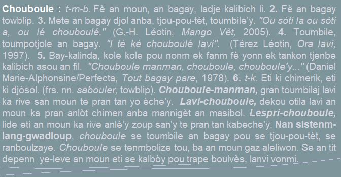 Chouboule  fè an moun  an bagay  ladje kalibich li....