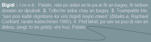 Bigidi  patate  rete pri adan an le-pa-le fè an bagay  fè lanben douvan an djoubak.