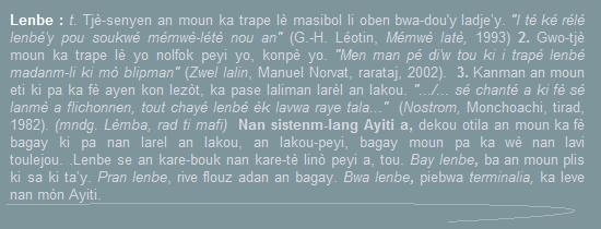 Lenbe, tjè-senyen an moun ka trape