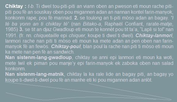 Chiktay  ti dwel tou-piti-piti an viann oben an pweson eti moun rache pou fè an souskay oben pou migannen