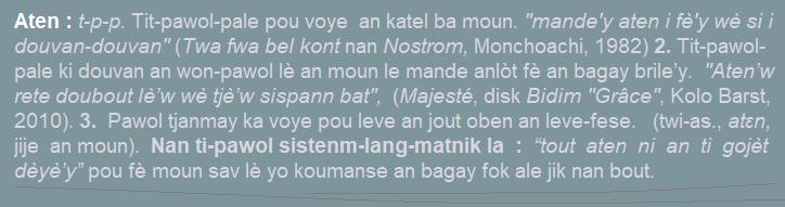 Aten  tit-pawol-pale pou voye an katel