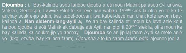 Djoumba  bay-kalinda asou tanbou djouba a eti moun Matnik pa asou O-Fanswa  Voklen  Sentespri  Lawviè-Pilòt te ka leve nan wabap 19enm siek la otila yo te ka fè anchay soukre-jip adan