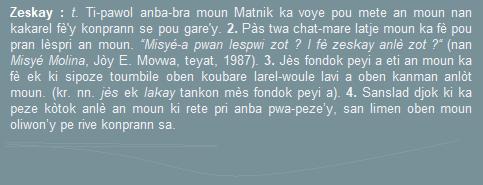 Zeskay  ti pawol anba-bra moun Matnik ka voye pou mete an moun nan kakarel....