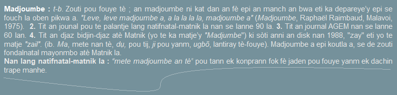 Madjoumbe  zouti pou fouye tè  an madjoumbe ni kat dan an fè epi an manch an bwa.