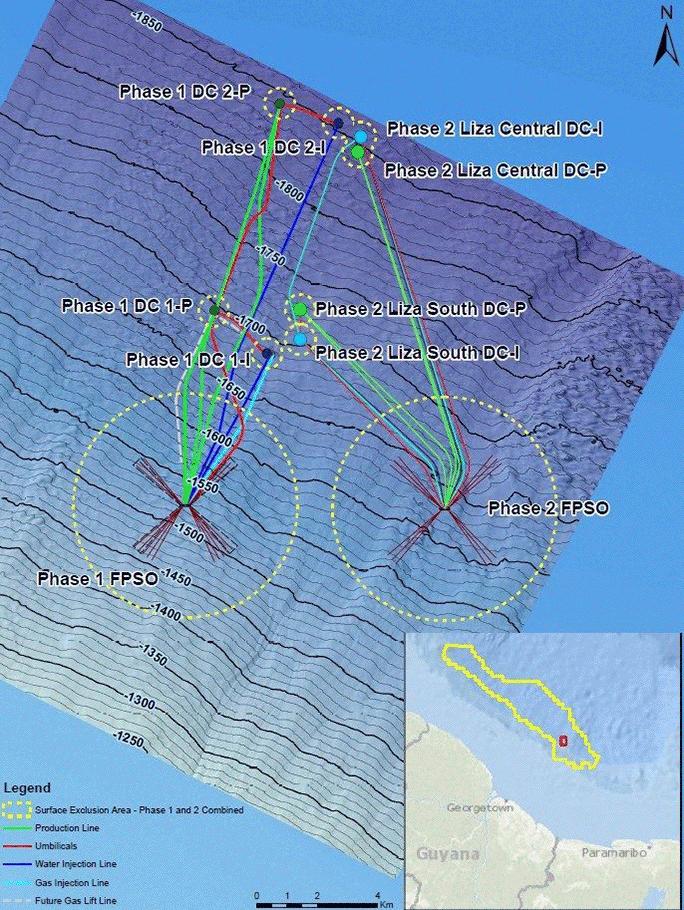 Guyana Liza-1-and-2-seismic-topography-inline