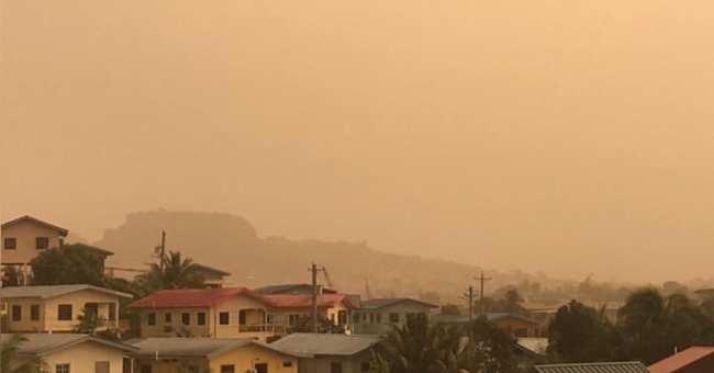 Saharan Dust outbreak across San Fernando